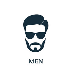 Men in sunglasses style haircut and beard icon vector