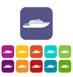 Planing powerboat icons set vector