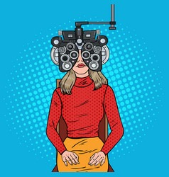Pop art woman patient at optometric clinic vector