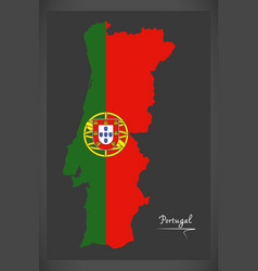 portugal map with portuguese national flag vector image
