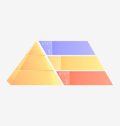 Pyramid chart with four elements with numbers and vector