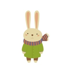 Rabbit In Green Warm Coat Childish vector image