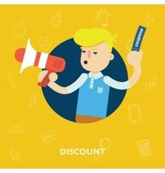 Sales and discounts man shouts into a megaphone vector