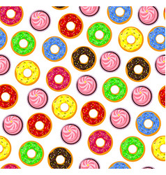 Seamless background of donuts with pastry pads vector