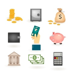 Set of colored money icons vector image