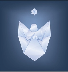 Singing christmas angel with first star origami vector