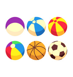 sport and toy balls icons isolated on white vector image