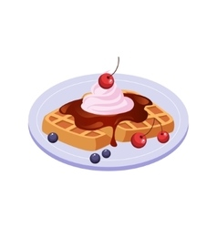 Sweet Waffle Breakfast Food Element Isolated Icon vector image