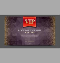 vip or luxury red flag on dark polygonal vector image