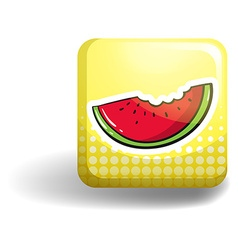 Watermelon on square badge vector
