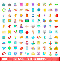 100 business strategy icons set cartoon style vector image vector image