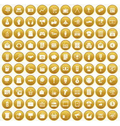 100 marketing icons set gold vector
