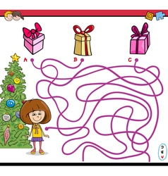 Christmas path maze game vector