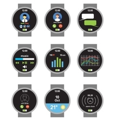 Circle smartwatch applications on the screen vector