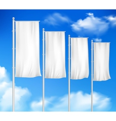 White blank 4 outdoor pole flags vector