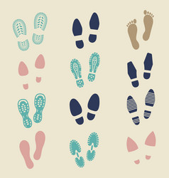 colorful footprints - female male and sport shoe vector image