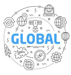 line flat circle global vector image