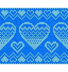 Blue knitted hearts seamless pattern vector