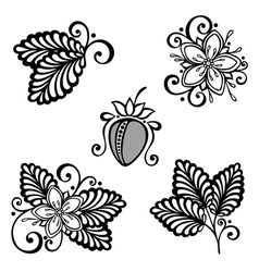 Decorative strawberry bush set vector