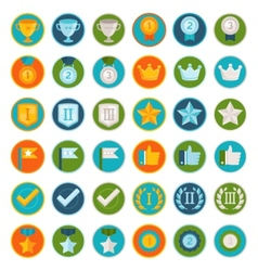 set of 36 flat gamification icons vector image