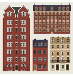 Buildings set with english classic terrace houses vector