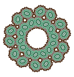Brown green abstract lace flower on the white vector
