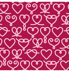 Seamless pattern made of rope hearts decorative kn vector