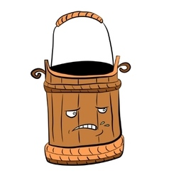 Wooden bucket for a sauna and water vector