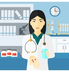Pharmacist giving pills vector