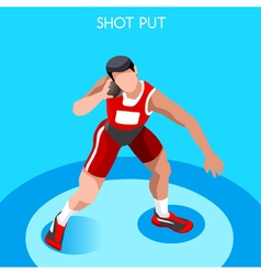 Athletics shot put 2016 summer games 3d vector