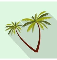Two coconut palm trees icon flat style vector