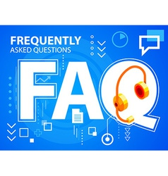 Bright faq and head phone on blue background vector