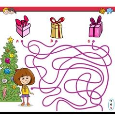 Christmas path maze game vector