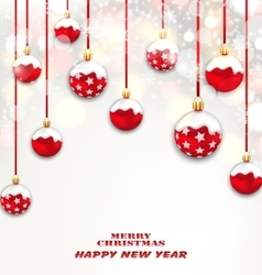 Christmas red glassy balls on shimmering light vector