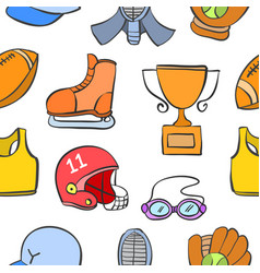 Collection of sport object doodle style vector