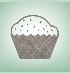 cupcake sign  brown flax icon on green vector image vector image