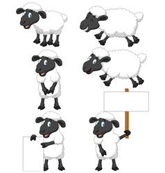 Cute cartoon sheep collection set vector