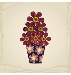 Doodle flowers in tattoo style and black vase vector