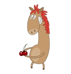Funny flat character horse on white background vector