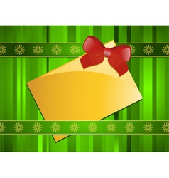 gift tag with a red ribbon vector image vector image
