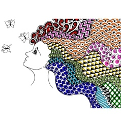 Girl and butterflies vector image vector image