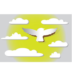 Greeting card with paper bird vector