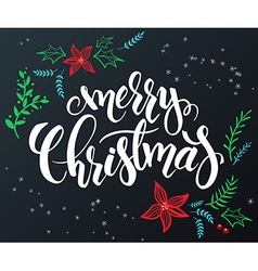 hand drawn lettering - merry christmas - with vector image vector image