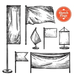 Hand Drawn Sketch Flags Set vector image