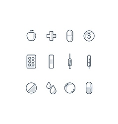 Health care and medicine icons set vector