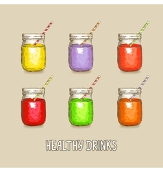 Healthy drinks set vector