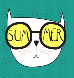 Hello summer background with funny hand drawn cat vector
