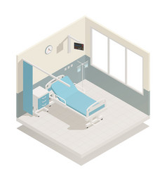 hospital ward equipment isometric composition vector image vector image