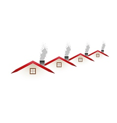 houses and smoking roofs vector image