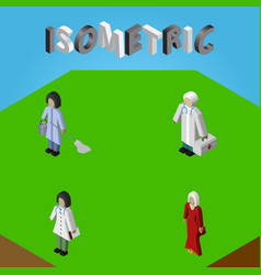 Isometric human set of doctor housemaid female vector